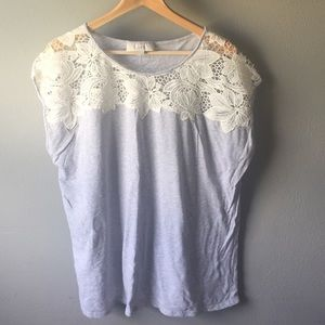 Gray cotton top with lace detail around neck NWOT